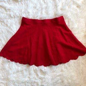 Candies Scalloped Hem Knit Sweater Skater Skirt